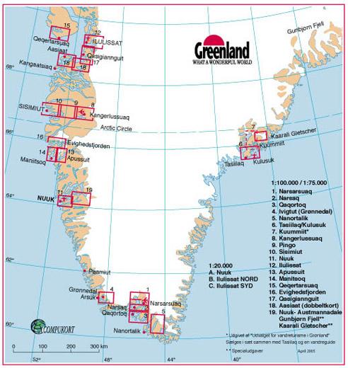 Cartes de randonnée Groenland