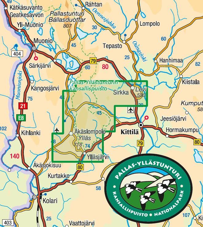 Fabuleux Carte de randonnée Ylläs Levi Aakenus 1:50 000 - Finlande WA06