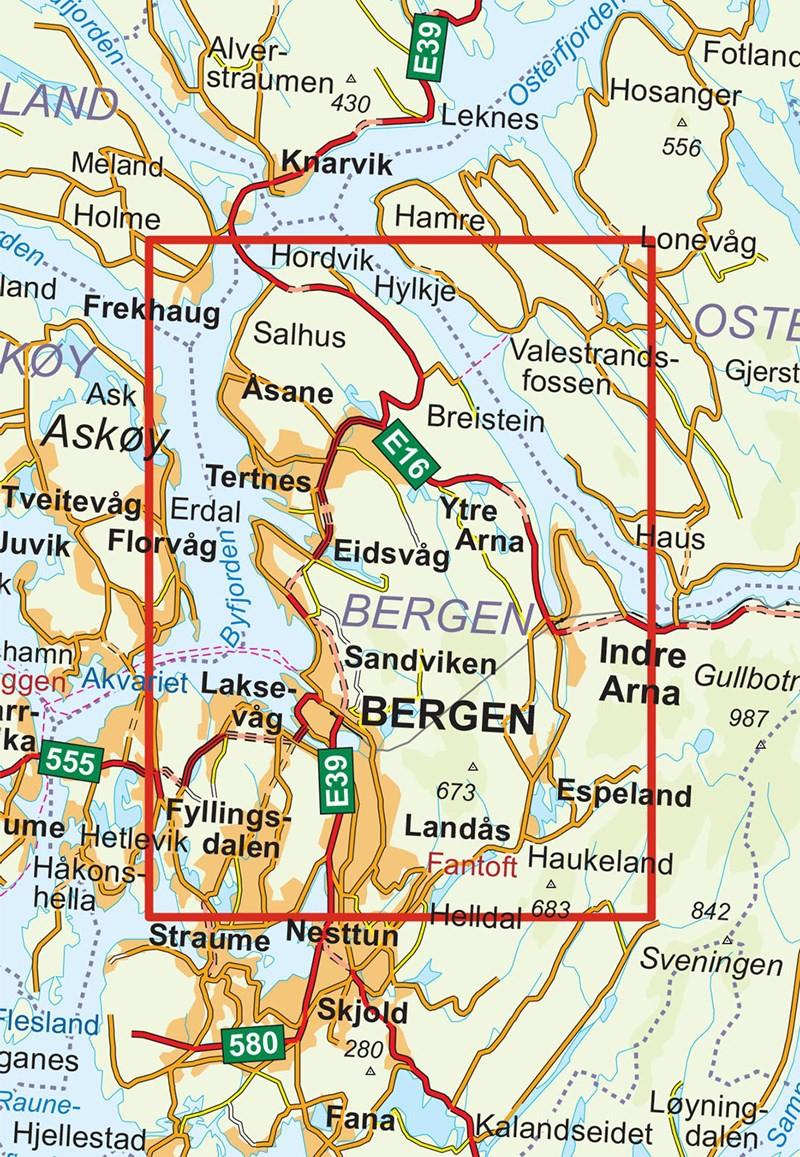 Norvège carte de Bergen - 1:25 000 : carte de randonnée Turkart n°2429