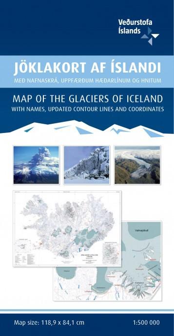 Carte des glaciers d'Islande
