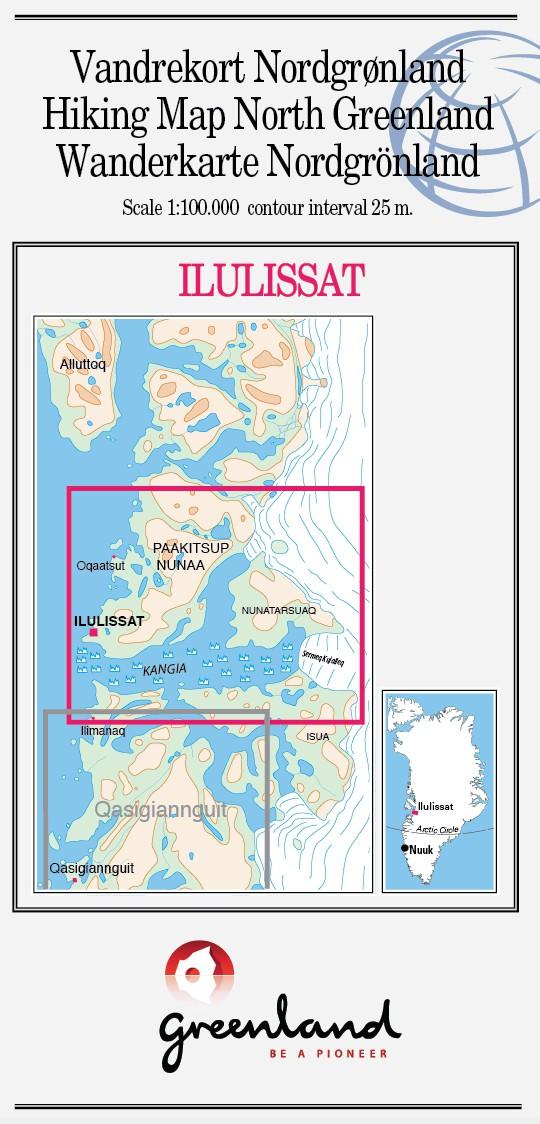 N° 12 - Ilulissat – Groenland Nord – Carte de randonnée - 1 :100 000
