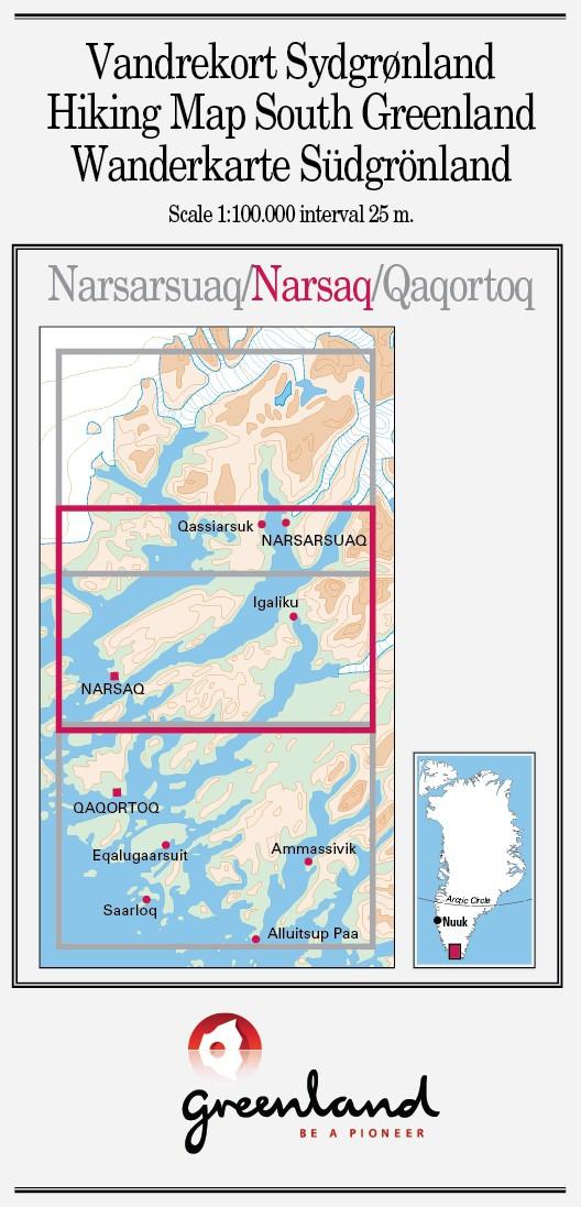 N° 2 - Narsaq – Groenland Sud – Carte de randonnée - 1 :100 000