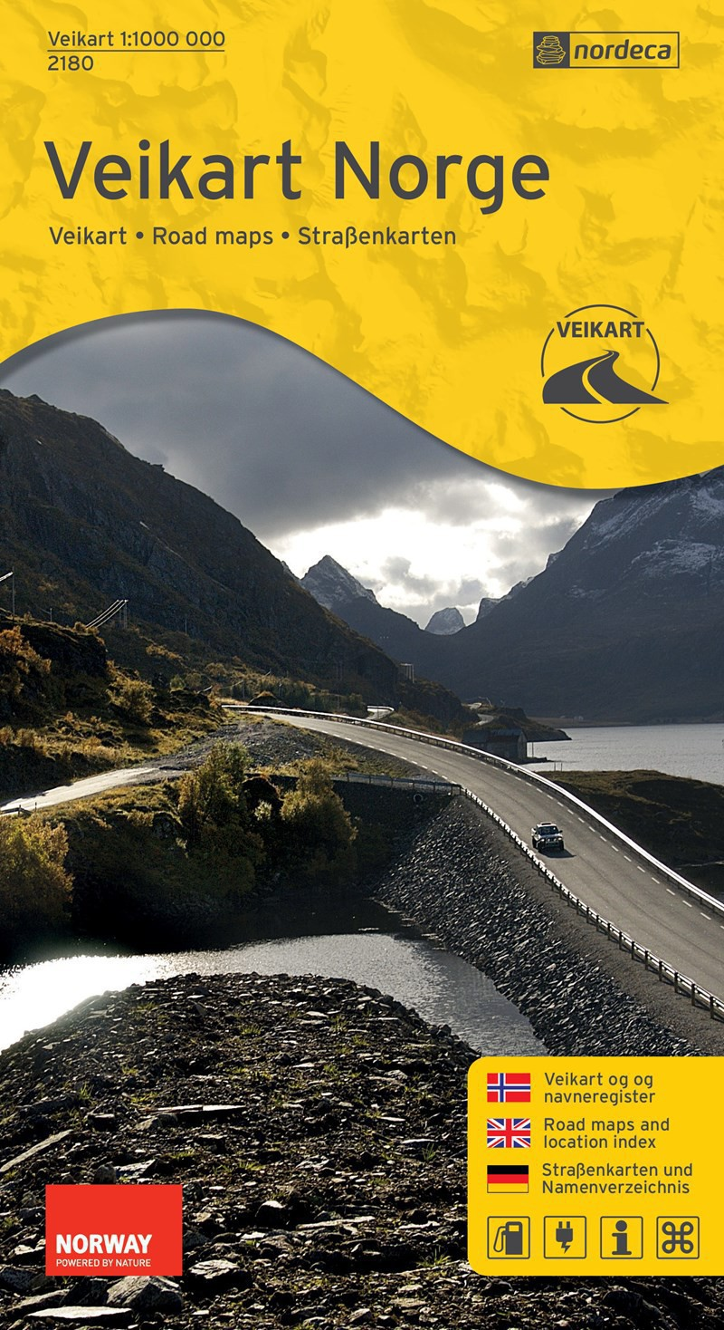 Carte routière de Norvège Veikart Norge