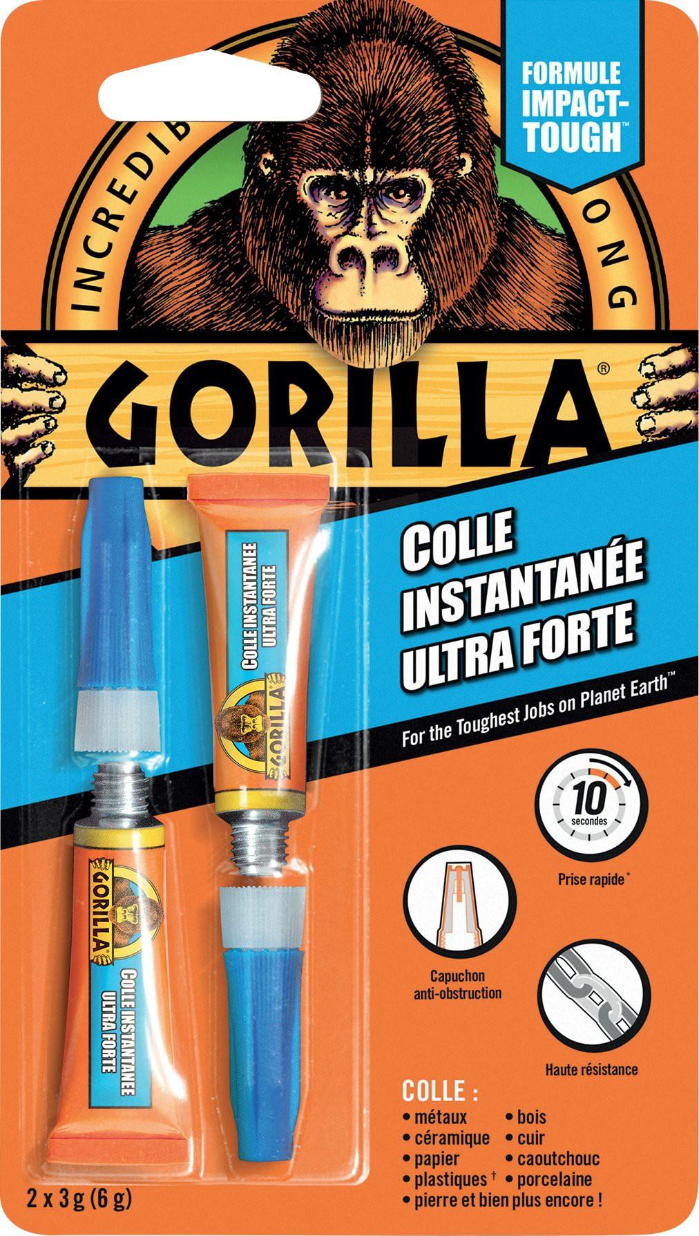 Colle ultra forte instantanée Gorilla Super Glue 2x3g