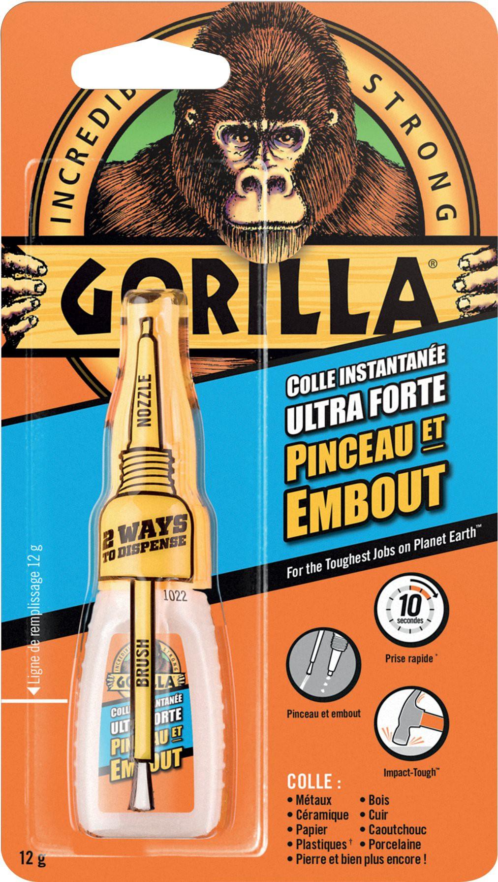 Colle ultra forte instantanée Gorilla Super Glue avec pinceau