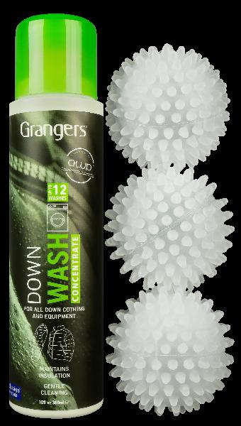 lessive et balles de séchage pour équipements en duvet et synthétique Granger's Down Wash Kit