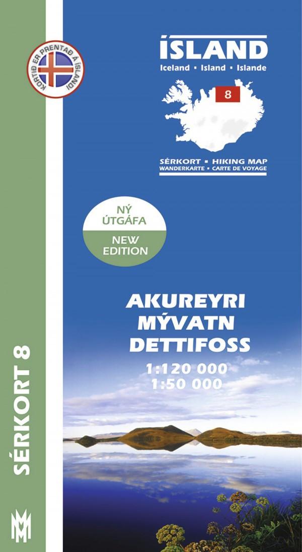Akureyri, Mývatn, Dettifoss 1: 120 000 – Sérkort 8