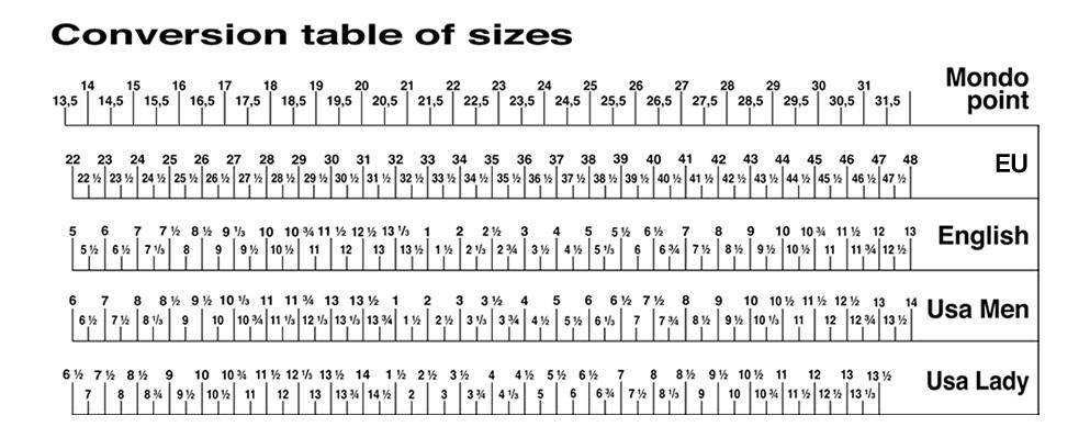 Table des tailles chaussures Crispi